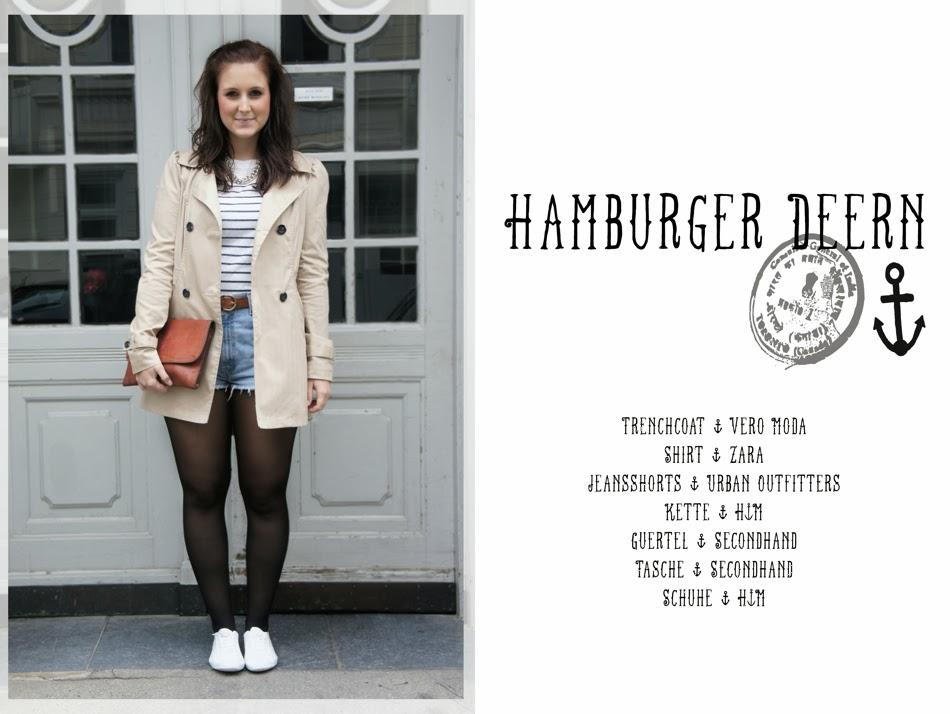 Hamburger Deern Marine Outfit Trenchcoat gestreift Vintage Tasche Gürtel Design C'est Lali
