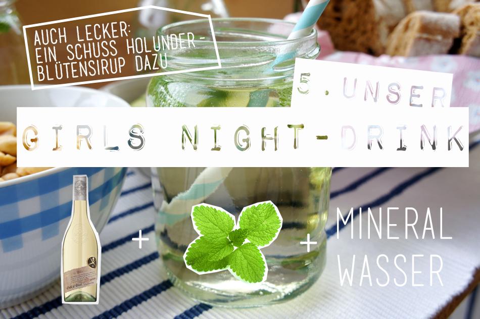 GIRLS NIGHT DRINK Weißwein Minze Weinschorle Mineralswasser Mädelsabend