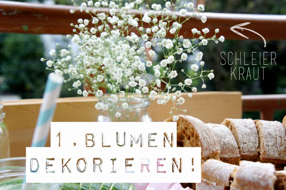 Mädelsabend Tipps Blumen Dekoration Schleierkraut Dinner Drinks
