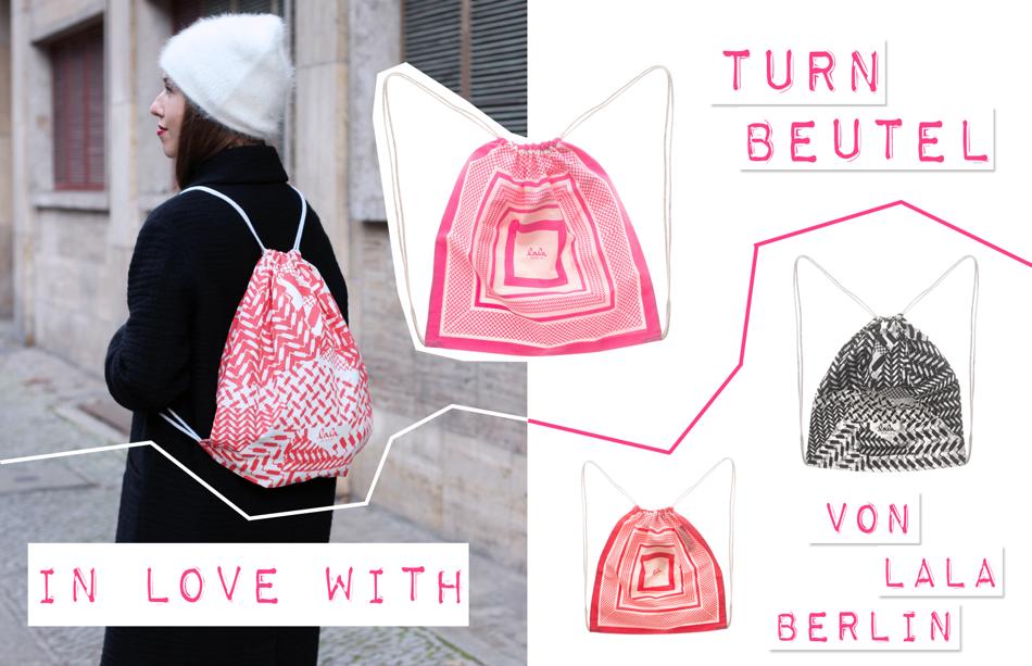 Lala Berlin Turnbeutel pink rot schwarz gemustert Trend Beutel Jades24