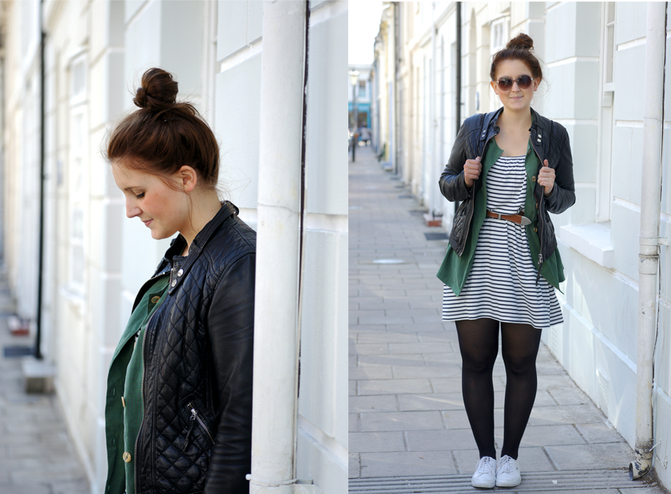 Secondhandjacke Outfit Kleid gestreift ASOS