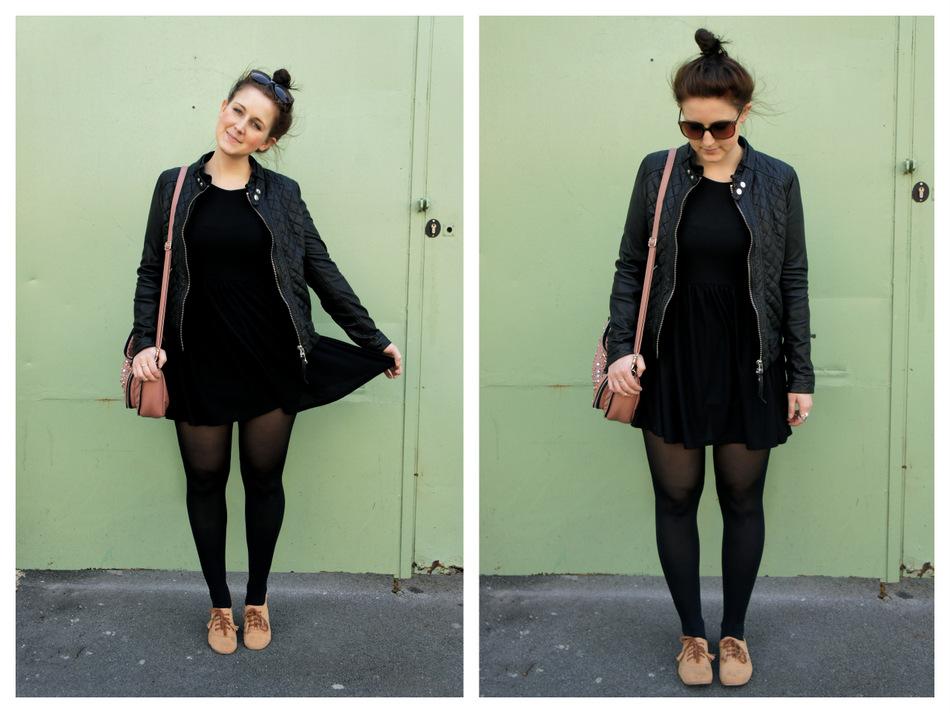 Schwarzes kleid mit strumpfhose